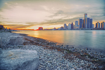 Long exposure Detroit skyline at sunset