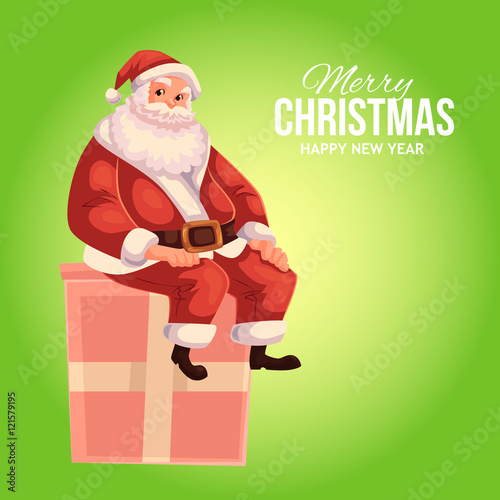 cartoon style santa claus sitting on a gift box christmas vector greeting card full