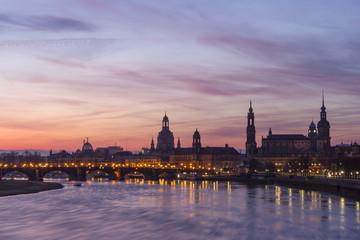 Dresden  Skyline vor Sonnenaufgang