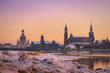 Dresden Sonnenuntergang im Winter