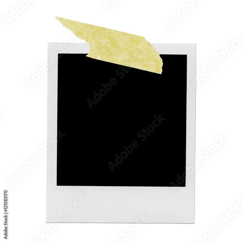 blank polaroid photo frame with yellow tape stock photo and