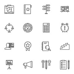 Set Of Project Management Icons On Promotion, Deadline, Creativity And More. Premium Quality EPS10 Vector Illustration For Mobile, App, UI Design.
