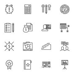 Set Of Project Management Icons On Graph, Best Solution, Award And More. Premium Quality EPS10 Vector Illustration For Mobile, App, UI Design.