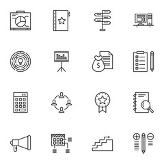 Set Of Project Management Icons On Money Revenue, Research, Charts And More. Premium Quality EPS10 Vector Illustration For Mobile, App, UI Design.