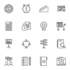 Set Of Project Management Icons On Team Meeting, Award, Statistics And More. Premium Quality EPS10 Vector Illustration For Mobile, App, UI Design.