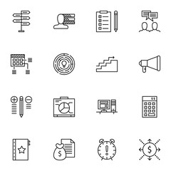 Set Of Project Management Icons On Task List, Cash Flow, Workspace And More. Premium Quality EPS10 Vector Illustration For Mobile, App, UI Design.