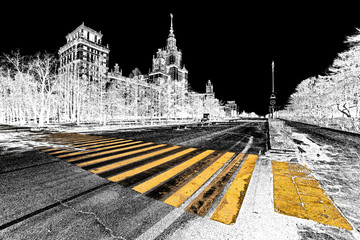 Graphic pen selective color sketch of long avenue of spring sunny campus of Moscow University with yellow zebra crossroad