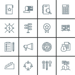 Set Of Project Management Icons On Workspace, Charts, Teamwork And More. Premium Quality EPS10 Vector Illustration For Mobile, App, UI Design.