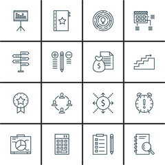Set Of Project Management Icons On Charts, Cash Flow, Quality Management And More. Premium Quality EPS10 Vector Illustration For Mobile, App, UI Design.