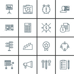 Set Of Project Management Icons On Statistics, Task List, Charts And More. Premium Quality EPS10 Vector Illustration For Mobile, App, UI Design.