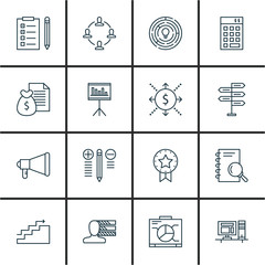 Set Of Project Management Icons On Promotion, Decision Making, Charts And More. Premium Quality EPS10 Vector Illustration For Mobile, App, UI Design.