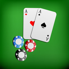 Two aces and casino chips illustration, pair of aces, vector