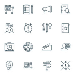 Set Of Project Management Icons On Charts, Research, Graph And More. Premium Quality EPS10 Vector Illustration For Mobile, App, UI Design.