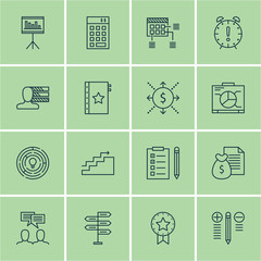 Set Of Project Management Icons On Creativity, Task List, Team Meeting And More. Premium Quality EPS10 Vector Illustration For Mobile, App, UI Design.