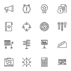 Set Of Project Management Icons On Planning, Charts, Statistics And More. Premium Quality EPS10 Vector Illustration For Mobile, App, UI Design.