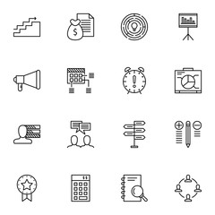 Set Of Project Management Icons On Teamwork, Research, Charts And More. Premium Quality EPS10 Vector Illustration For Mobile, App, UI Design.