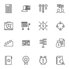 Set Of Project Management Icons On Money Revenue, Cash Flow, Decision Making And More. Premium Quality EPS10 Vector Illustration For Mobile, App, UI Design.