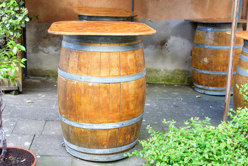 barrels for wine used as table