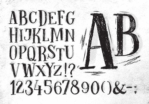 Pencil font black alphabet