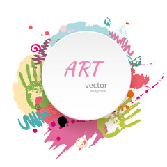 Abstract hand drawn design with paper card. Childish art background with colorful blots of paint, handprints, doodles, lines and sailboat. Vector