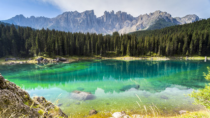 Dolomites: the beautiful colors of the lake Carezza