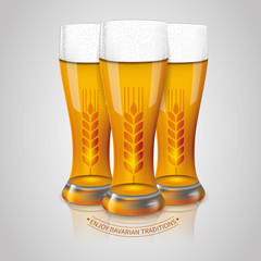 Set of glasses of Weissbier, light Bavarian beer, with wheat emblems. Vector illustration
