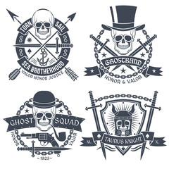 Vintage emblem with skull, well suited as tattoos, t-shirt. Text is easy to change for your own. Skull, dagger, pistol, hat, chain ghost, arrow, anchor, pipe, sword, shield, knight's helmet.