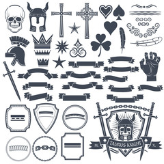 Set to create a retro logos to use an example. Skull, helmet knight, cross, spades, hearts, vignette, crown, feather, clover, hand, sword, banners, ribbons, shields.