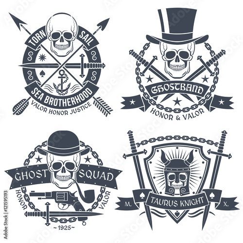 Vintage Emblem With Skull Well Suited As Tattoos T Shirt Text Is