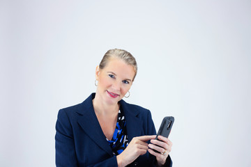 Business Woman Hold Cell Phone
