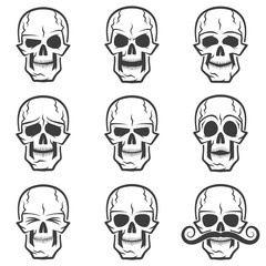 Skull emotions set. Wary skull, evil skull, funny skull, skull surprised,skull with eyes closed,  serious skull, sad skull, skull with mustache.
