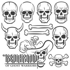 Skulls of various designs. Horned skull. Logo with skull and rapier. Skull in the Hat. The skull with horns. Jolly Roger.Ideal for tattoo.