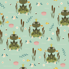 Frog seamless pattern