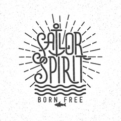 Marine vintage retro lettering tattoo sailor spirit on a white background. Textures on separate layers.