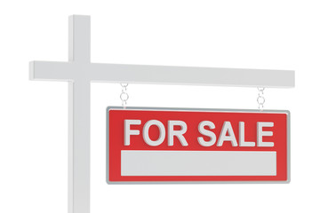 For Sale Real Estate Sign, 3D rendering