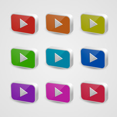 Set of nine multicolored play buttons. Isolated on white background. Vector illustration, eps 10.