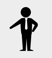 silhouette standing with tie isolated vector illustration eps 10