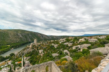 Beautiful landscape view of Pocitelj old town, Bosnia and Herzegovina