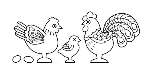 Contour image of stylized cock family