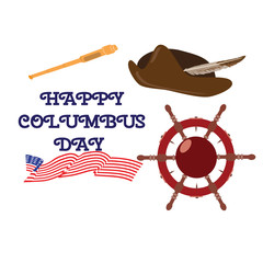 Vector illustration of a steering wheel, a spyglass and Columbus hat. Elements of Happy Columbus day design.