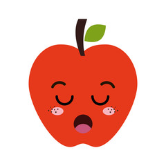 red apple fruit food. kawaii cartoon with lazy expression face. vector illustration