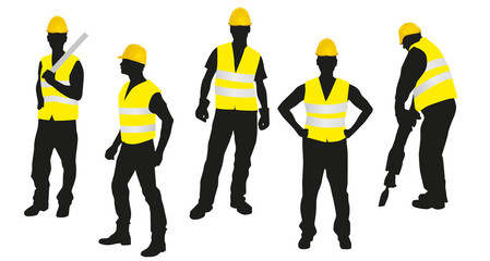 Vector workers silhouettes