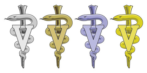 Medical Symbol - Veterinarian is an illustration of the veterinary medical symbol in silver, gold, blue and yellow.