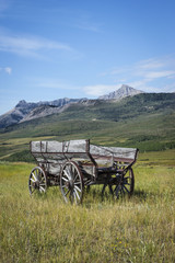 vertical image of one old vintage wooden horse wagon sitting in the grass with beautiful mountains in the background under a clear blue sky in the summer time.