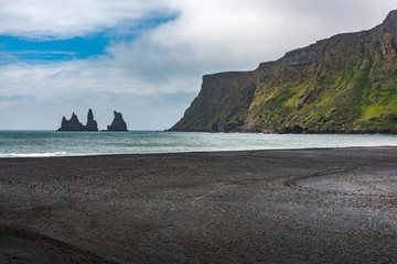 Panoramic view of Reynisfjara black sand beach, located on villa