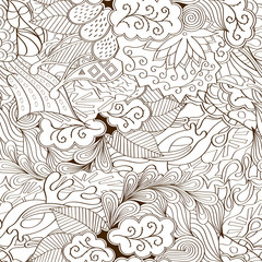 Tracery seamless calming pattern. Mehndi design. Ethnic monochrome binary doodle texture. Curved doodling background. Vector.