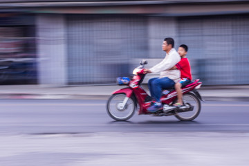 Motorcycling Panning In Thailand