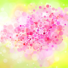 Exploding gift box: abstract illustration with circles