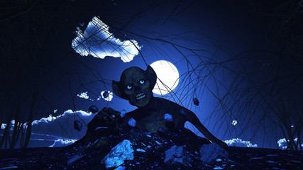 Fototapete - 3D Halloween background with zombie