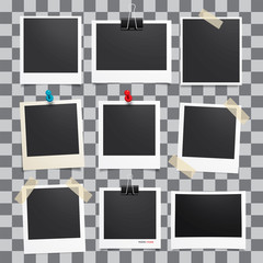 Vector photo frame.Set of realistic paper photograph.